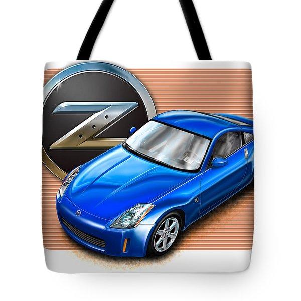 Nissan Z350 Blue Tote Bag