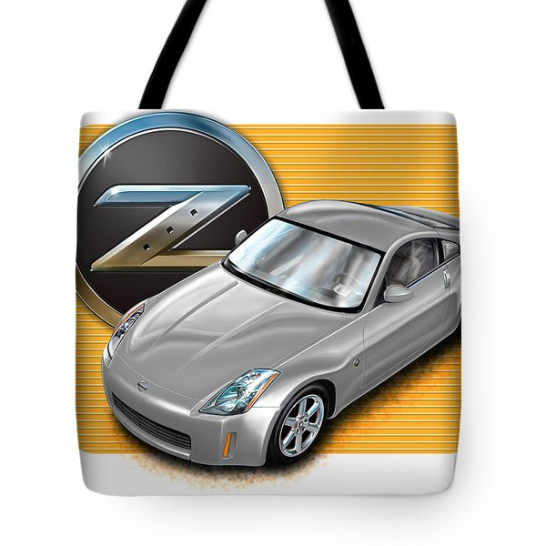 Nissan Z350 In Silver Tote Bag