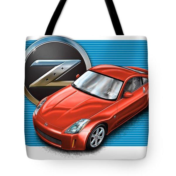 Nissan Z350 Red Tote Bag