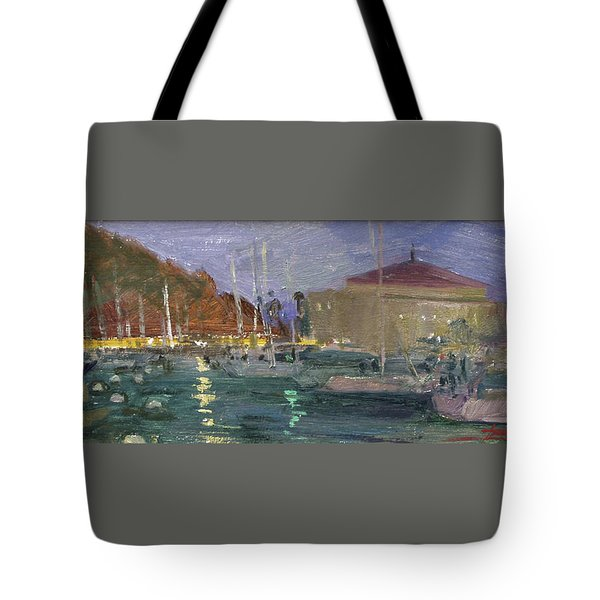 Nite Avalon Harbor - Catalina Island Tote Bag