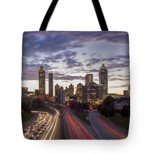 Nitelites Downtown Atlanta Sunset Tote Bag