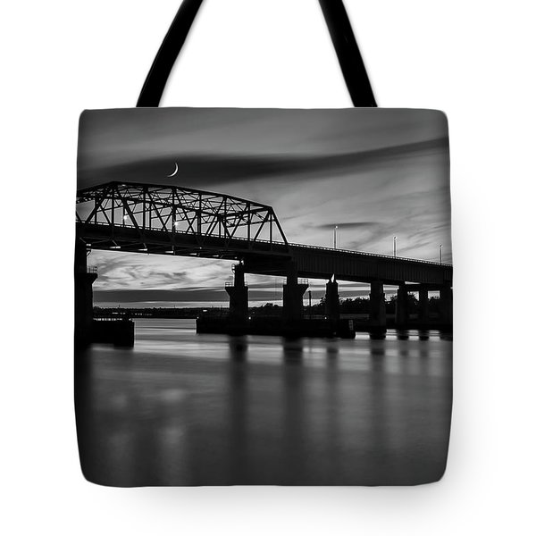 Tote Bag featuring the photograph Nj Meadowlands Sunset Bw by Susan Candelario