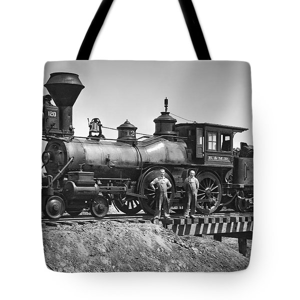 No. 120 Early Railroad Locomotive Tote Bag by Daniel Hagerman