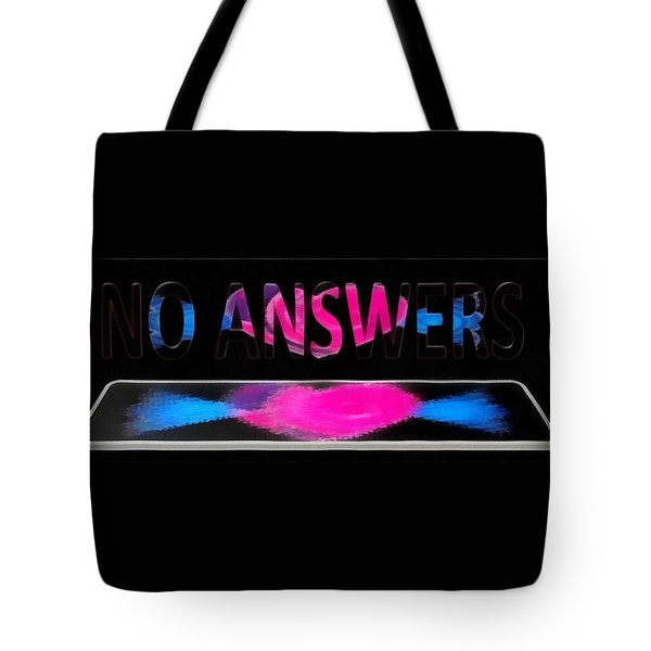 Tote Bag featuring the digital art Phone Cases No Answers by Catherine Lott