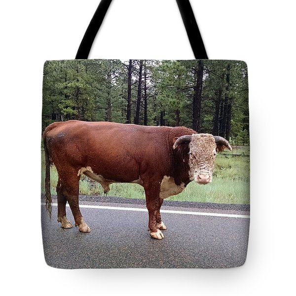 Tote Bag featuring the photograph No Bull by Roberta Byram