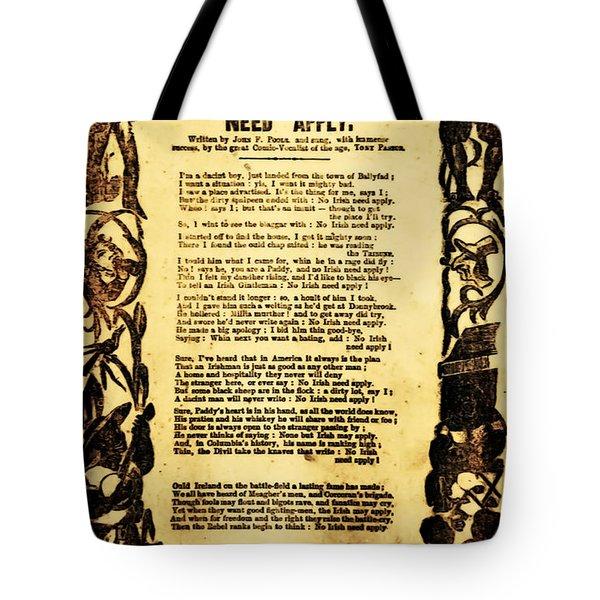 No Irish Need Apply Tote Bag by Bill Cannon