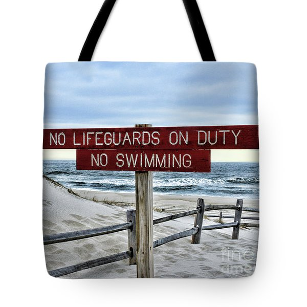 No Lifeguards On Duty Tote Bag by Paul Ward