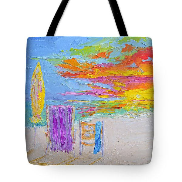 No Need For An Umbrella - Sunset At The Beach - Modern Impressionist Knife Palette Oil Painting Tote Bag