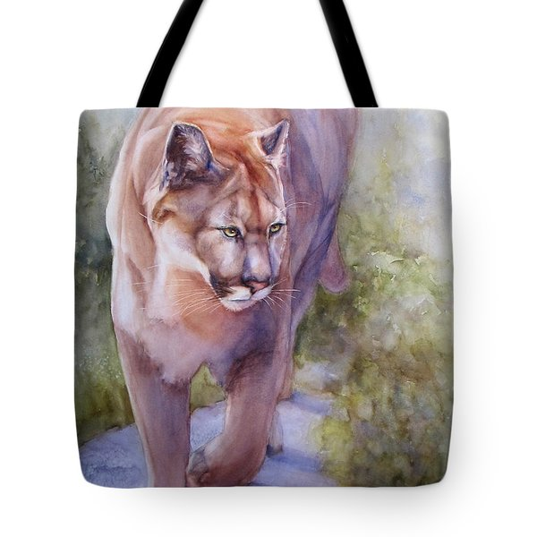 Tote Bag featuring the painting Noble Cougar by Bonnie Rinier