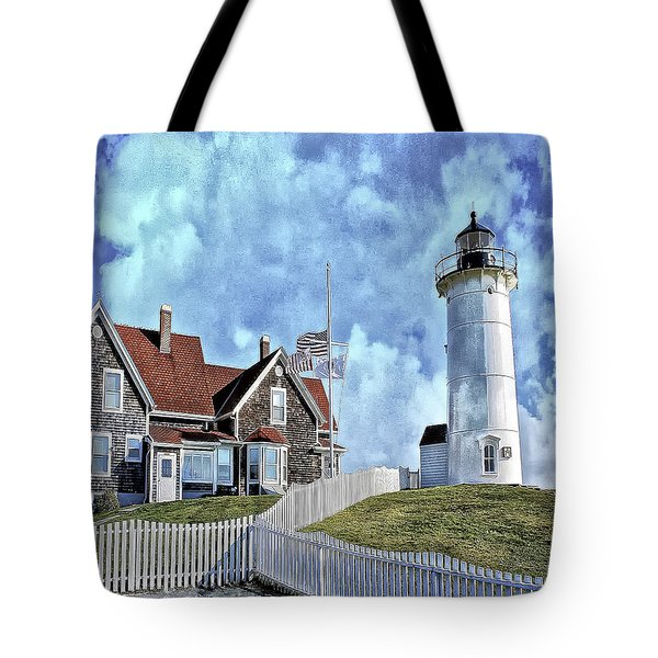 Tote Bag featuring the photograph Nobska Point Lighthouse Falmouth Cape Cod by Constantine Gregory