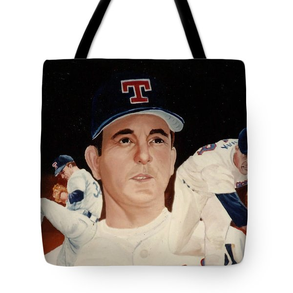 Tote Bag featuring the painting Nolan Ryan Medley by Rosario Piazza