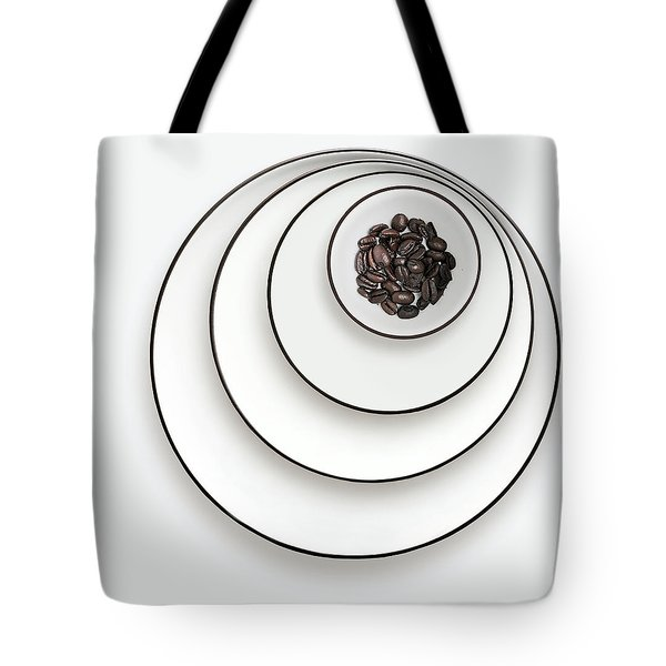 Tote Bag featuring the photograph Nonconcentric Dishware And Coffee by Joe Bonita