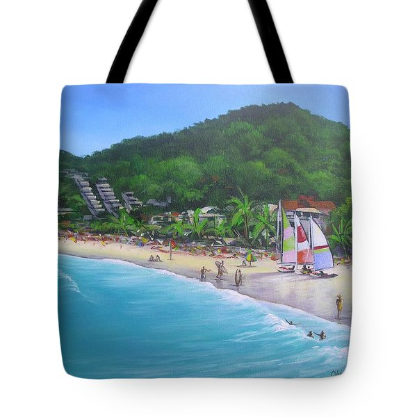 Tote Bag featuring the painting Noosa Fun Acrylic Painting by Chris Hobel