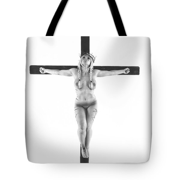 Nordic White Crucifix Tote Bag