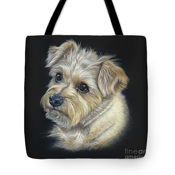 Tote Bag featuring the drawing Norfolk Terrier 'hattie' by Donna Mulley