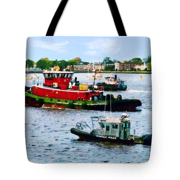 Tote Bag featuring the photograph Norfolk Va - Police Boat And Two Tugboats by Susan Savad