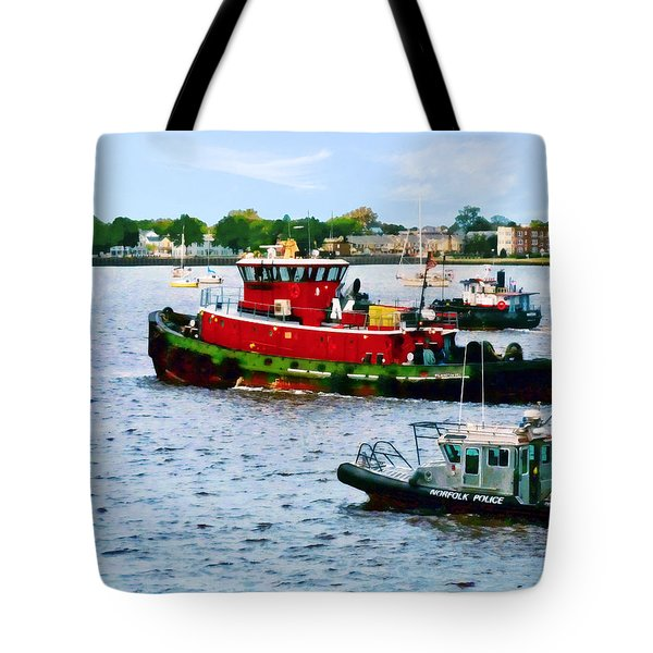 Norfolk Va - Police Boat And Two Tugboats Tote Bag