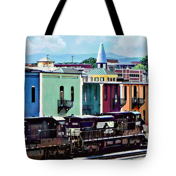 Tote Bag featuring the photograph Norfolk Va - Train With Two Locomotives by Susan Savad