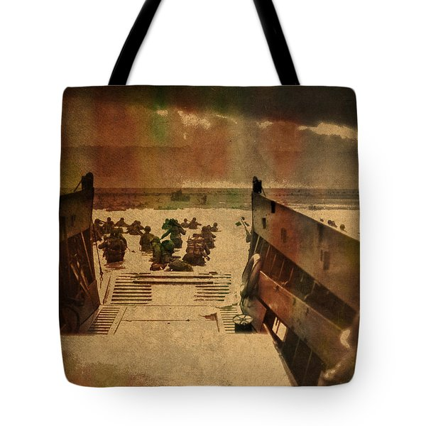 Normandy Beach On Dday World War Two Watercolor Tinted Historical Photograph On Worn Canvas Tote Bag