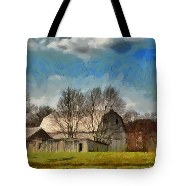 Tote Bag featuring the mixed media Norman's Homestead by Trish Tritz