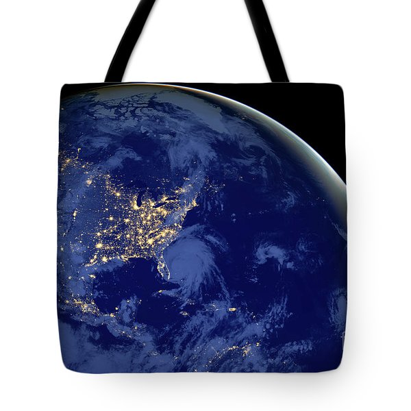 Tote Bag featuring the photograph North America From Space by Delphimages Photo Creations