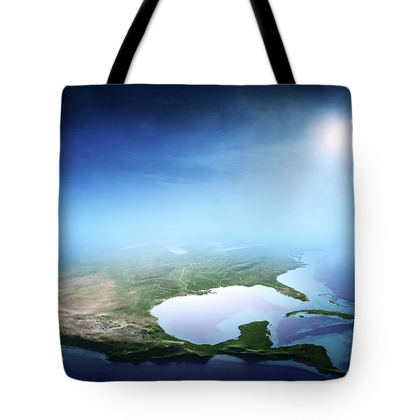North America Sunrise Aerial View Tote Bag