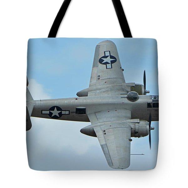 Tote Bag featuring the photograph North American B-25j Mitchell N9856c Pacific Princess Chino California April 30 2016 by Brian Lockett