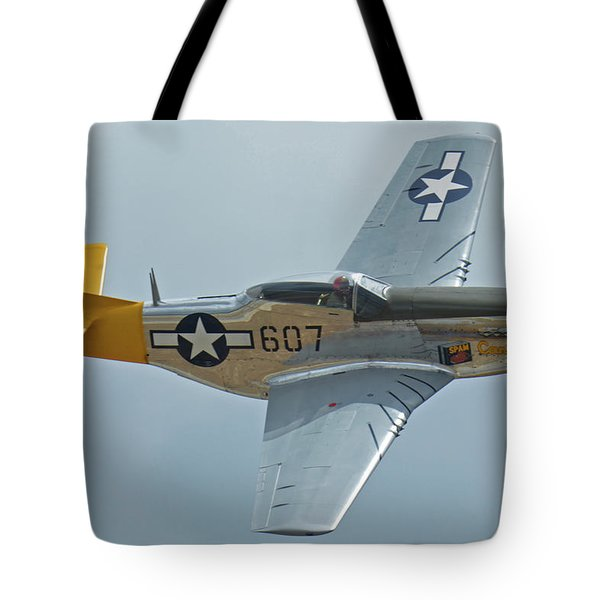 North American P-51d Mustang Nl5441v Dolly/spam Can Chino California April 30 2016 Tote Bag by Brian Lockett