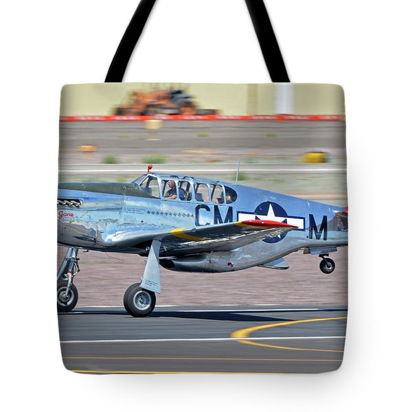 Tote Bag featuring the photograph North American Tp-51c-10 Mustang Nl251mx Betty Jane Deer Valley Arizona April 13 2016 by Brian Lockett