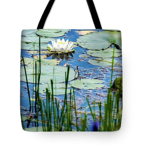 North American White Water Lily Tote Bag