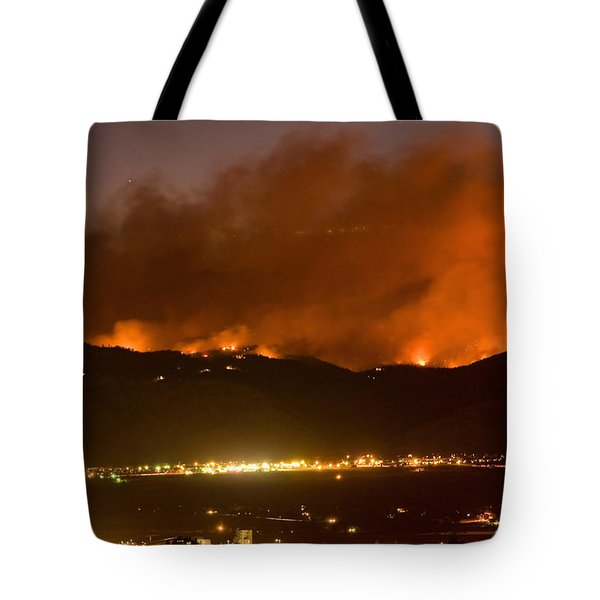 North Boulder Colorado Fire Above In The Hills Tote Bag by James BO  Insogna