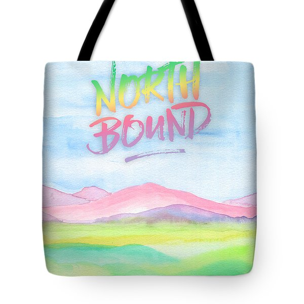 North Bound Pink Purple Mountains Watercolor Painting Tote Bag