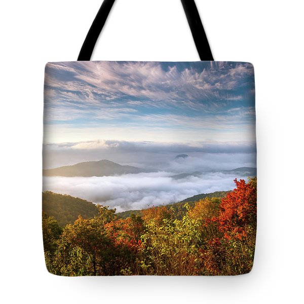 North Carolina Autumn Sunrise Blue Ridge Parkway Fall Foliage Nc Mountains Tote Bag