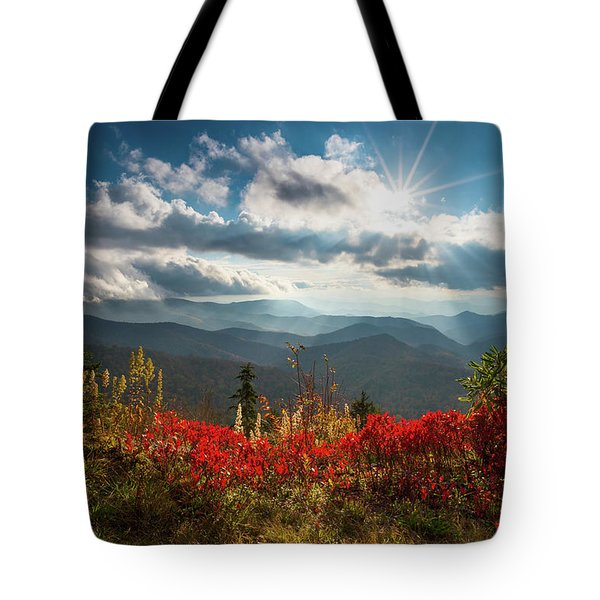 North Carolina Blue Ridge Parkway Scenic Landscape In Autumn Tote Bag