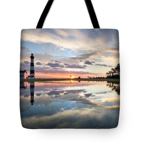 North Carolina Bodie Island Lighthouse Sunrise Tote Bag by Mark VanDyke