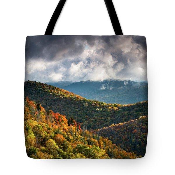 North Carolina Mountains Asheville Nc Autumn Sunrise Tote Bag