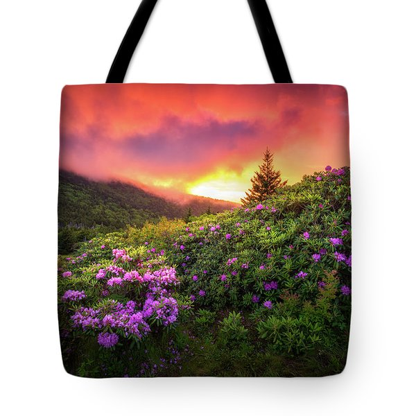North Carolina Mountains Outdoors Landscape Appalachian Trail Spring Flowers Sunset Tote Bag