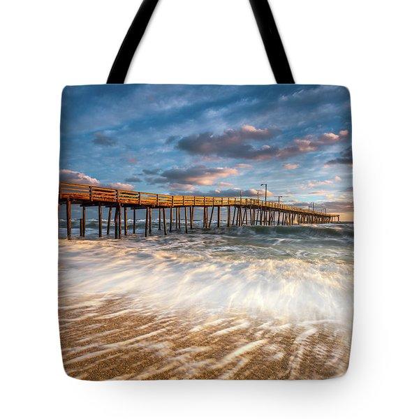 North Carolina Outer Banks Nags Head Pier Seascape At Sunrise Tote Bag
