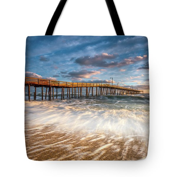 North Carolina Outer Banks Nags Head Pier Seascape At Sunrise Tote Bag