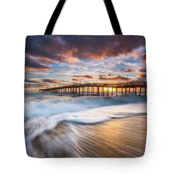 North Carolina Outer Banks Seascape Nags Head Pier Obx Nc Tote Bag