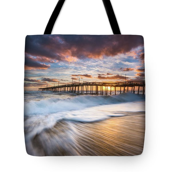 North Carolina Outer Banks Seascape Nags Head Pier Obx Nc Tote Bag