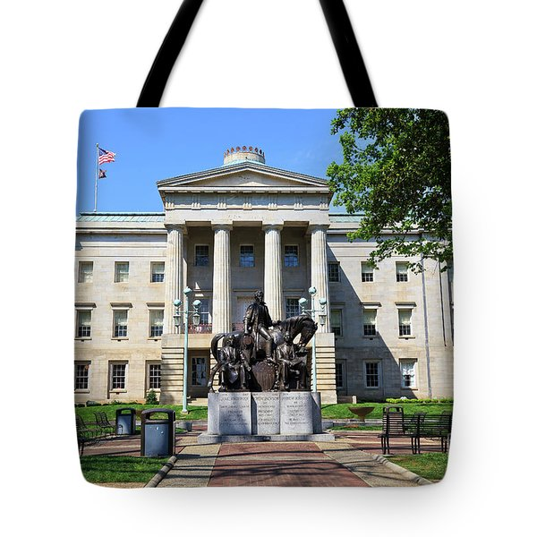 North Carolina State Capitol Building With Statue Tote Bag