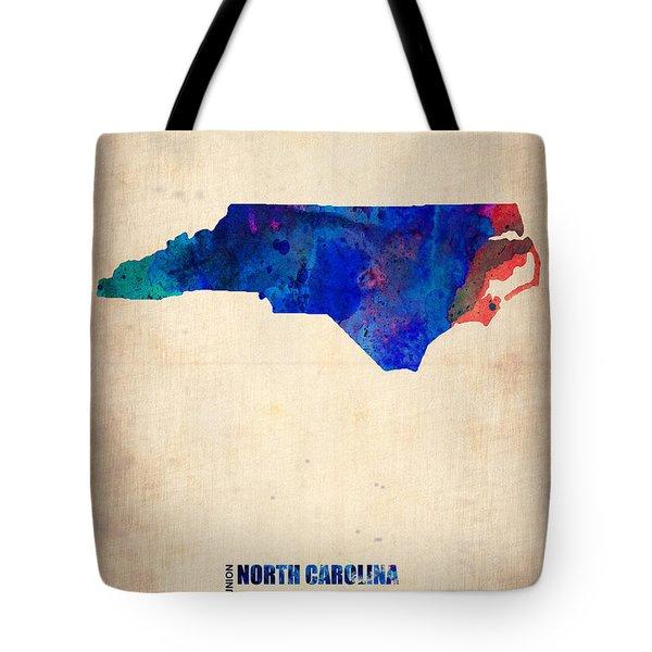 North Carolina Watercolor Map Tote Bag by Naxart Studio