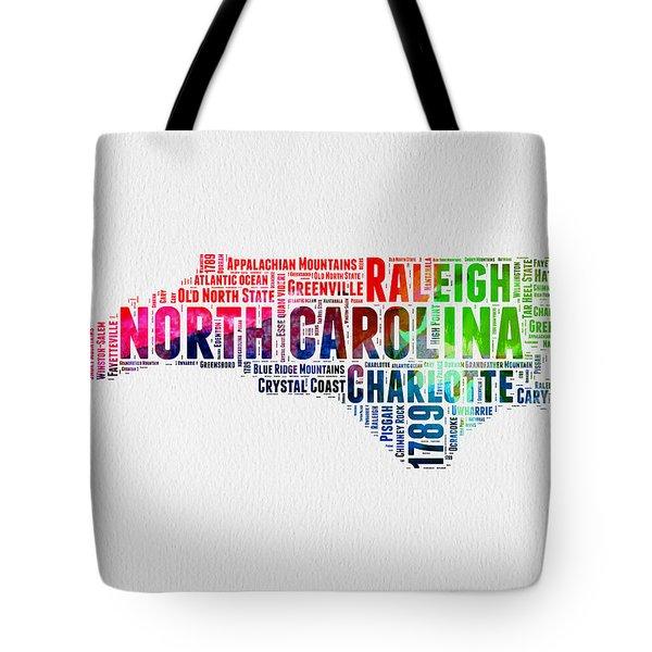 North Carolina Watercolor Word Cloud Map Tote Bag