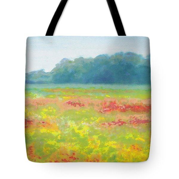 North Carolina Wildflowers Landscape Original Fine Art Painting Tote Bag