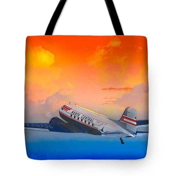 North Central Dc-3 At Sunrise Tote Bag