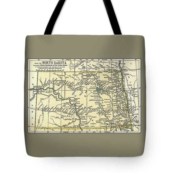 North Dakota Antique Map 1891 Tote Bag