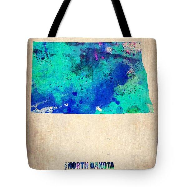 North Dakota Watercolor Map Tote Bag by Naxart Studio