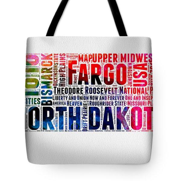 North Dakota Watercolor Word Cloud  Tote Bag