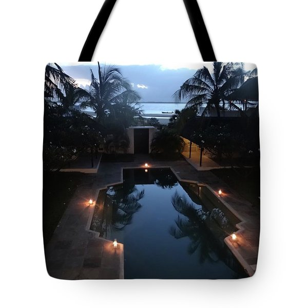 North - Eastern African Home - Sundown Over The Swimming Pool Tote Bag by Exploramum Exploramum